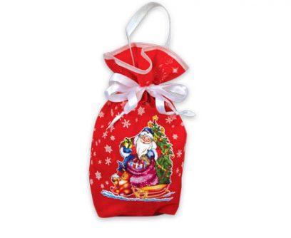 Текстильная новогодняя упаковка - Мешочек красный