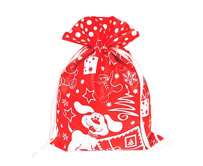 Текстильная новогодняя упаковка - Мешочек Снежный (красный)