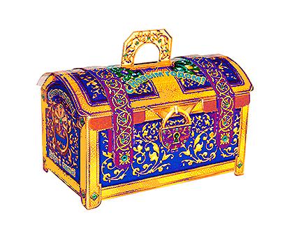 Упаковка новогодняя Сундук синий