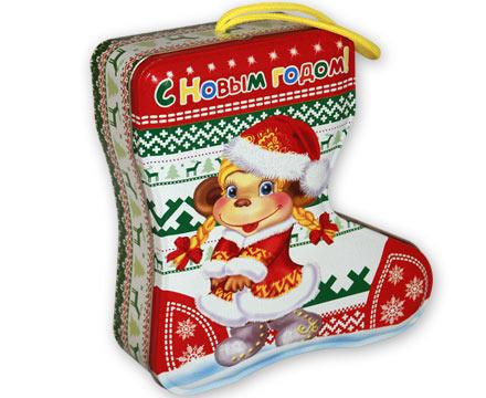 Упаковка новогодняя из жести Сапожок
