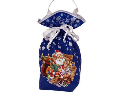 Текстильная новогодняя упаковка - Мешочек синий